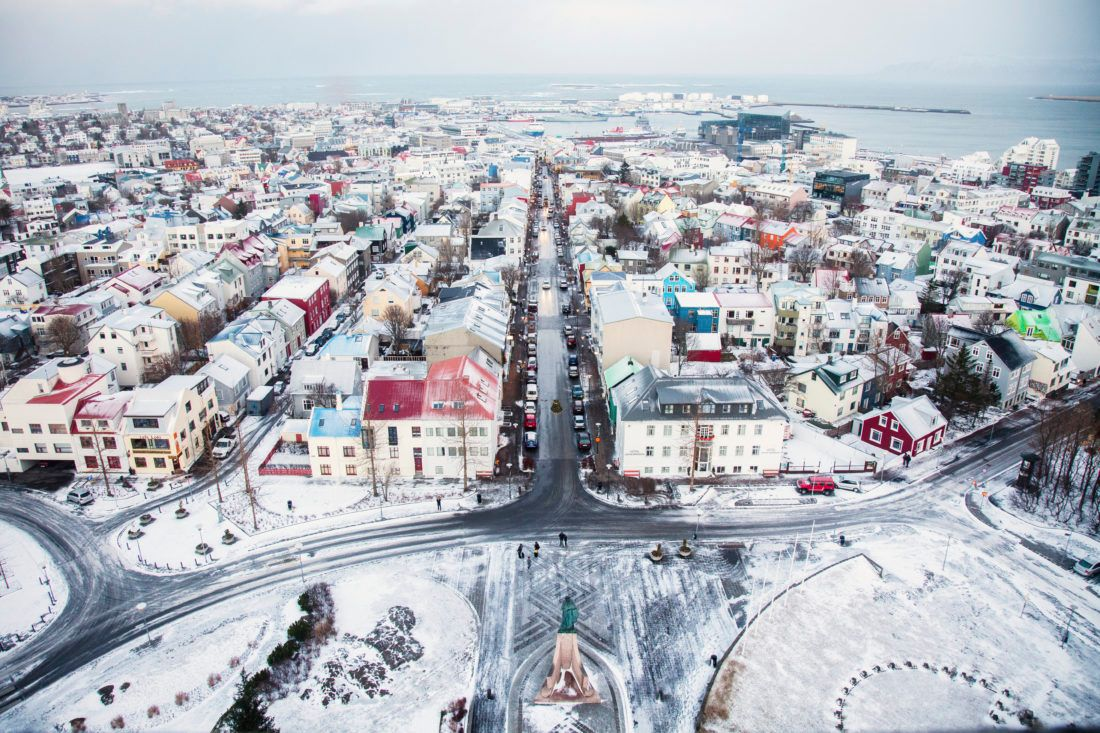 Reykjavik covered in snow during winter