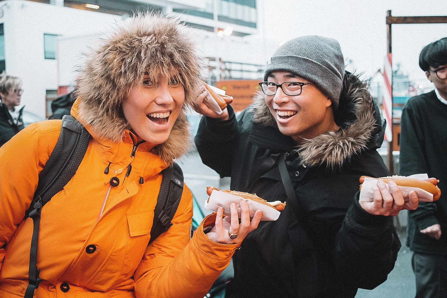 Enjoying Iceland's famous hot dogs on the Reykjavik Food Walk tour