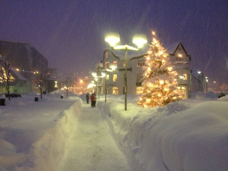 Reykjavik covered in snow during christmas