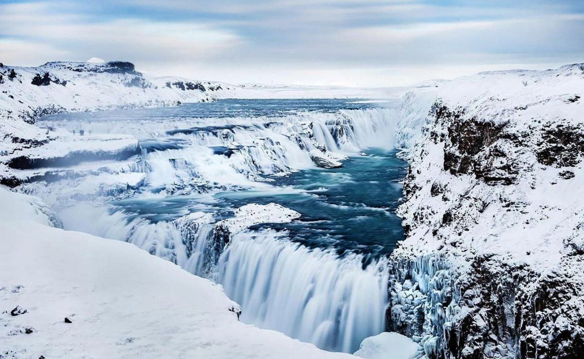 Gullfoss waterfall during winter
