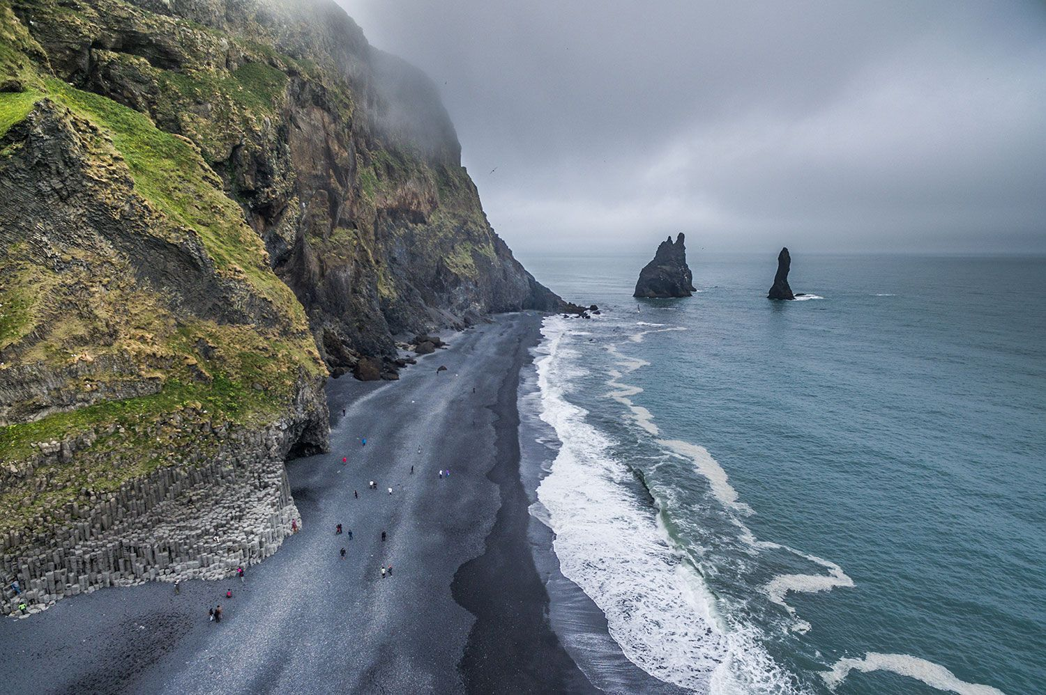 Arial shot of the black sand beach in Iceland