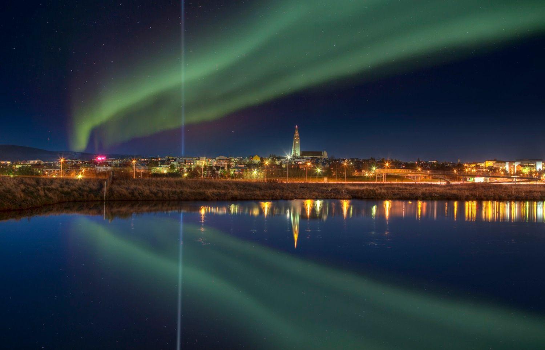 Northern lights over Reykjavik in December
