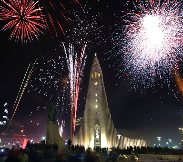 firework show in Reykjavik during new years eve