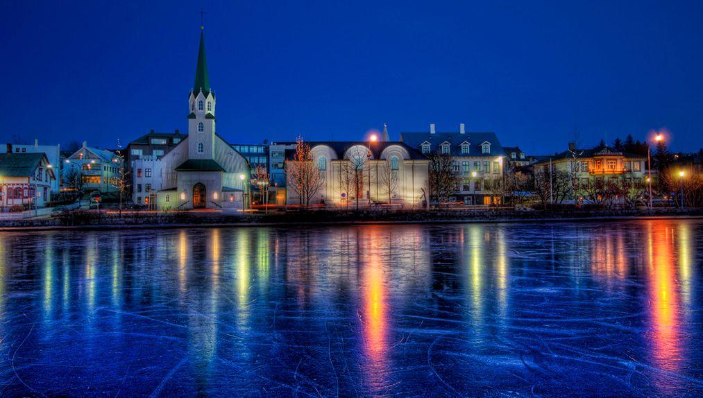 Reykjavik pond during winter