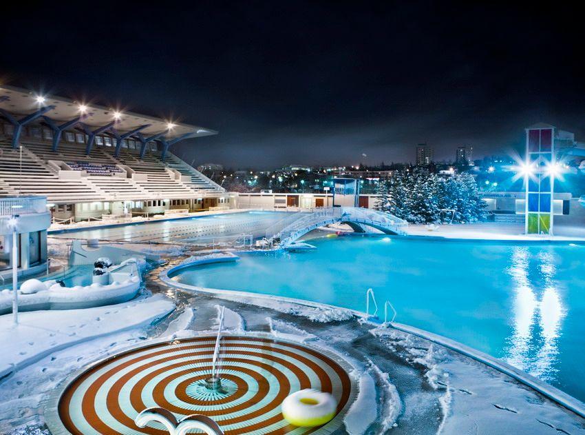 Laugardalslaug swimming pool during winter