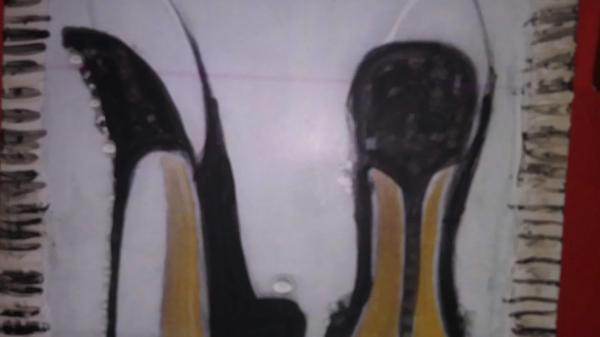 Mixed media on wood of high heels