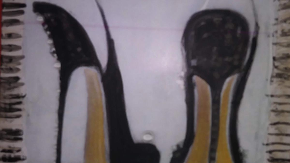 Mixed media on wood of high heels