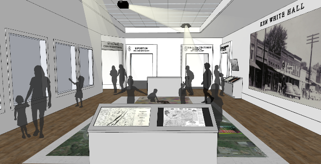 Main Hall of new History Center with digital interactives