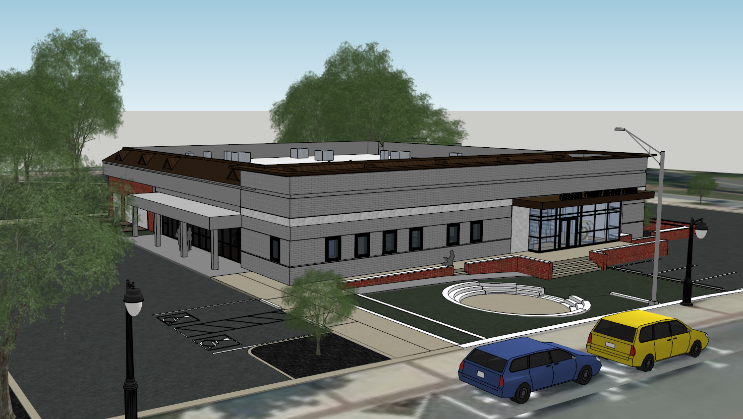 Exterior rendering of new History Center showcasing the entrance garden and outdoor exhibition space