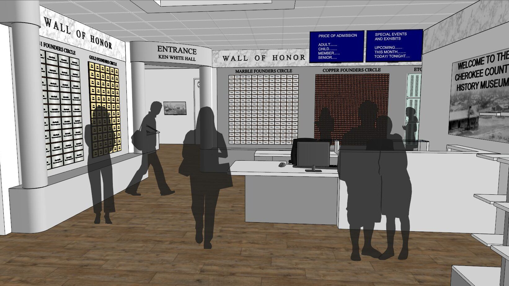Lobby of new History Center with admissions desk and Wall of Honor