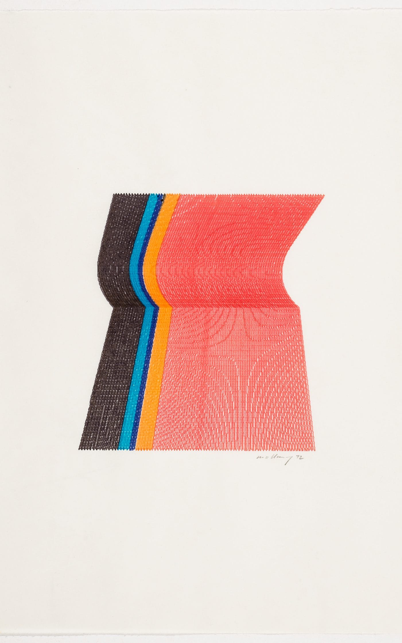 Robert W. Mallary, 3 colour plotter graphic, 1972, computer drawing, Source: Telegraph [10]
