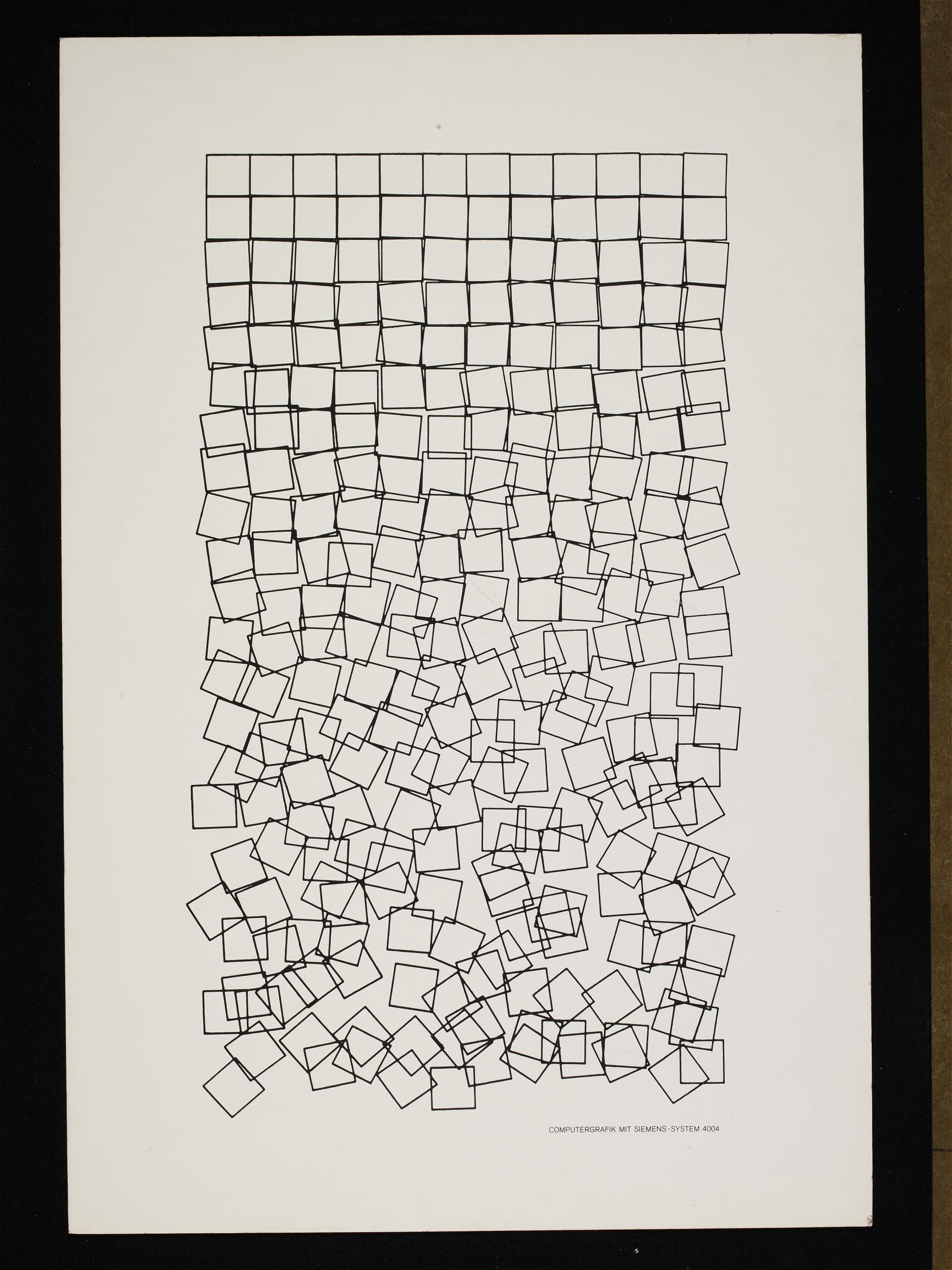 Georg Nees, Schotter,  Computer-generated image, lithograph on paper, 1968-1970. Given by the Computer Arts Society, supported by System Simulation Ltd, London, Copyright © Victoria and Albert Museum, London [1]