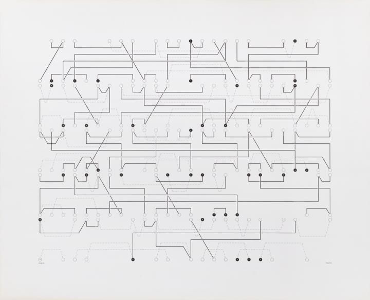Manfred Mohr, P-055. Random Circuit, 1970, computer-generated drawing, Source: ZKM | Center for Art and Media © Manfred Mohr; Photo © ZKM | Center for Art and Media, Photo: Franz J. Wamhof [11]