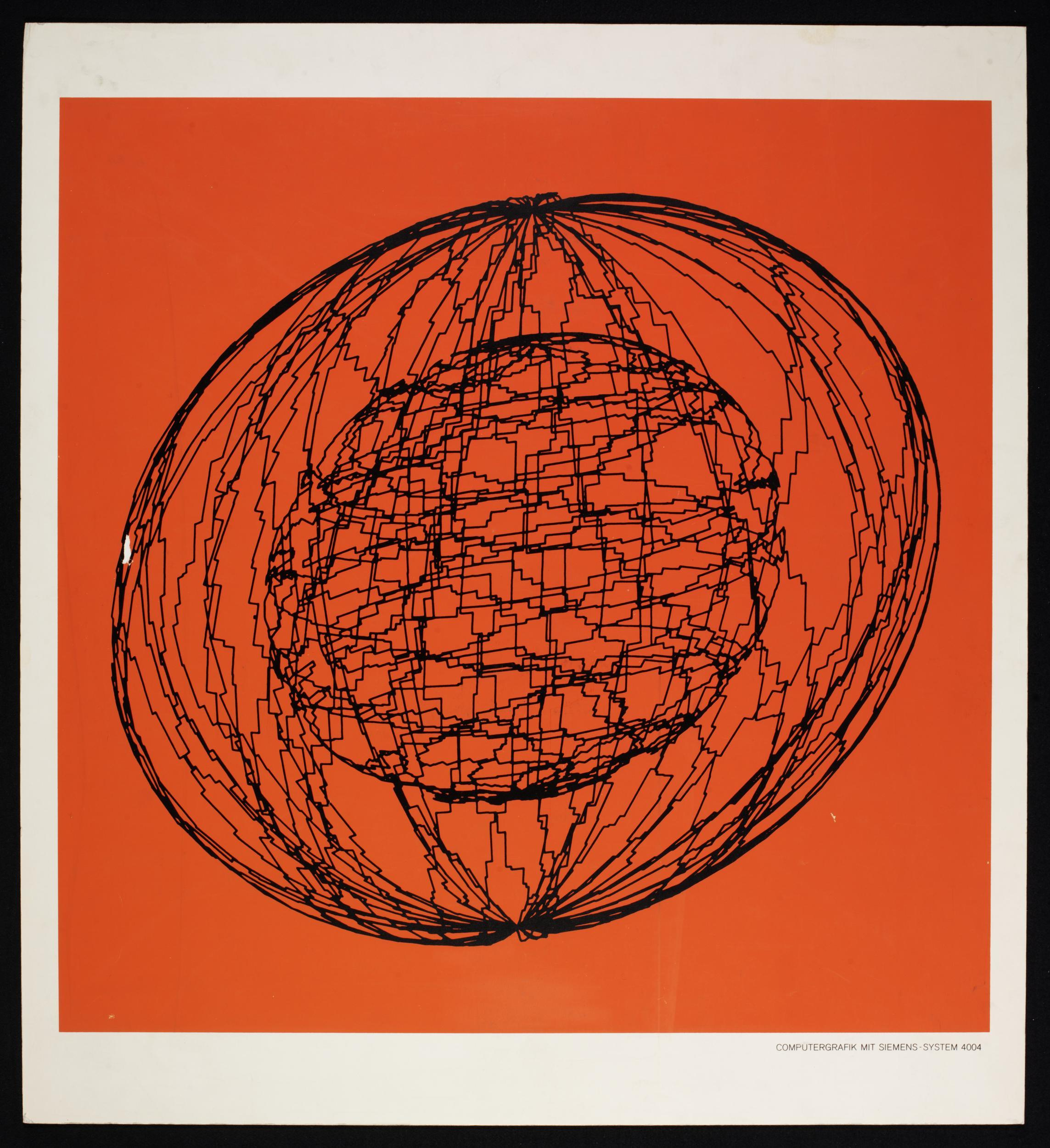 Georg Nees, Screenprint on paper, mounted on board, 1970, Given by the Computer Arts Society, supported by System Simulation Ltd, London, Copyright © Victoria and Albert Museum, London [3]