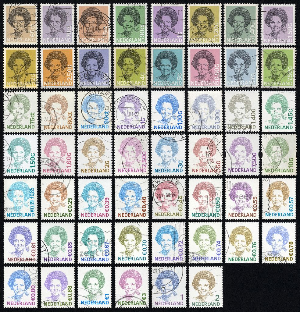 Peter Struycken and Gerard Unger, The Beatrix stamp series, 1981–2010, Source: flickr, © Florian Hardwig [6]