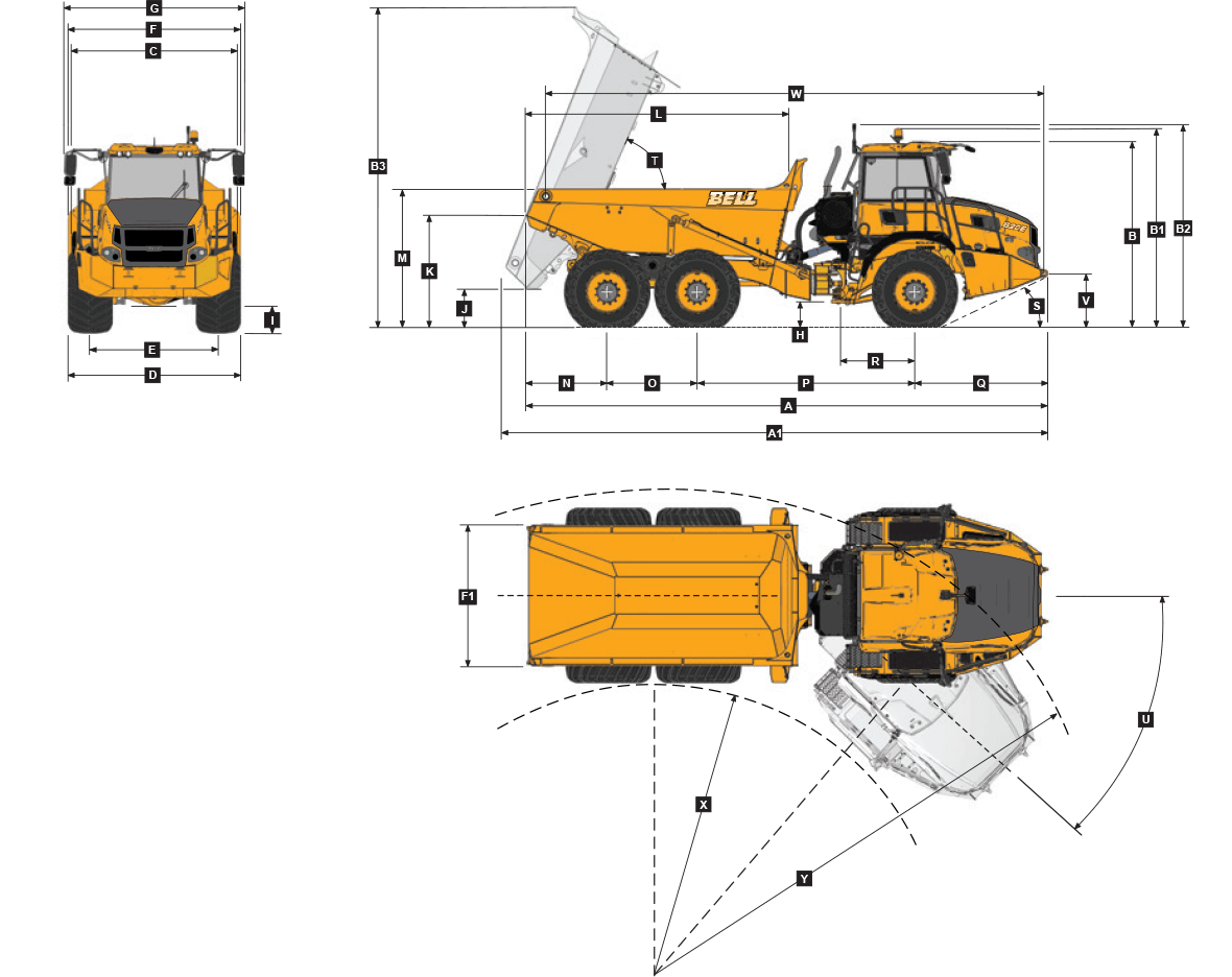 Diagram of Bell B20E Truck