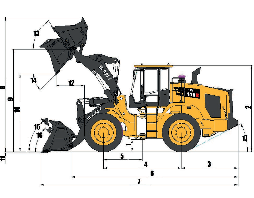 sany-smg200-motor-grader-overall-dimensions-chart