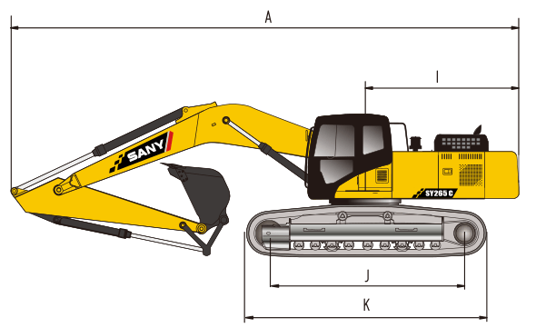 sany-sy500h-excavator-overall-dimensions-chart