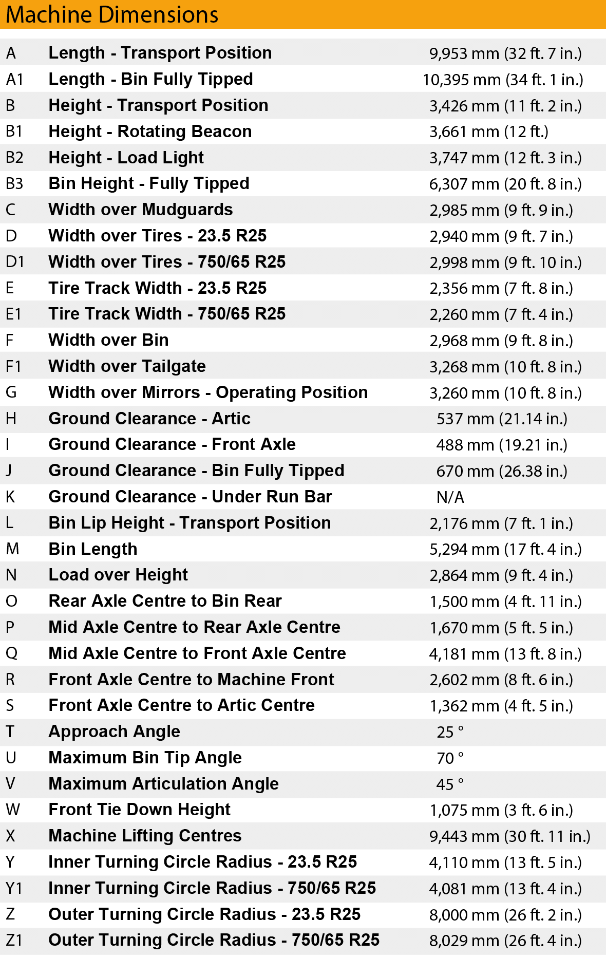 bell b30e truck dimensions chart