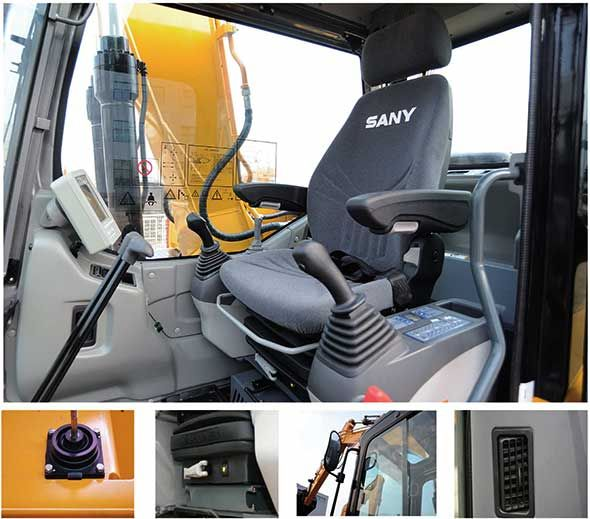 interior comfort of a sany sy135c excavator