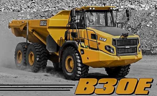 Bell B30E truck on a job site hauling a load.