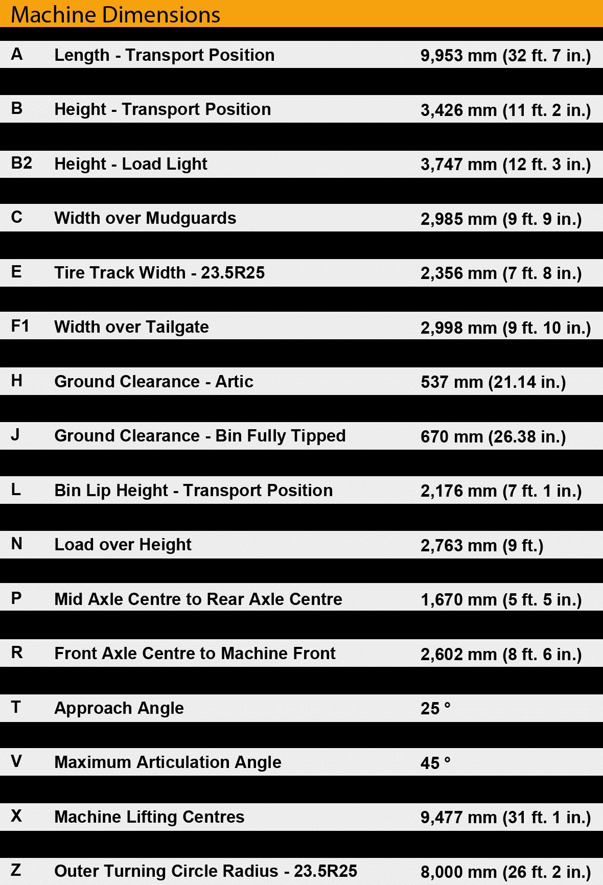 Bell B25e dimensions sheet.