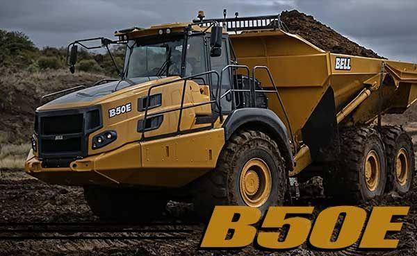 bell b50e truck on job site working, hauling dirt.