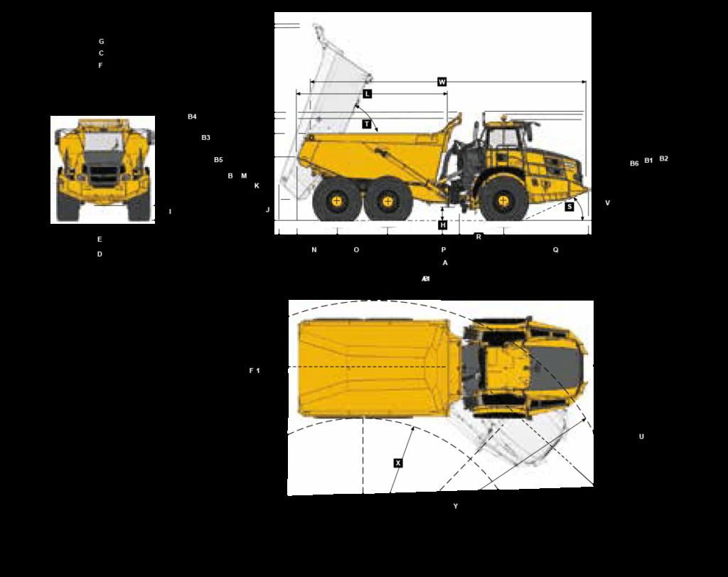 dimensions specs sheet for bell b50e truck