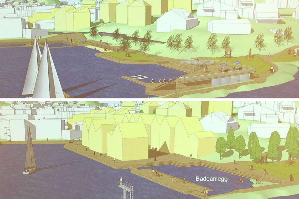 Kva retning skal kommunen planlegga vidare, Fjordparken (øvst) eller Fjordbygda?