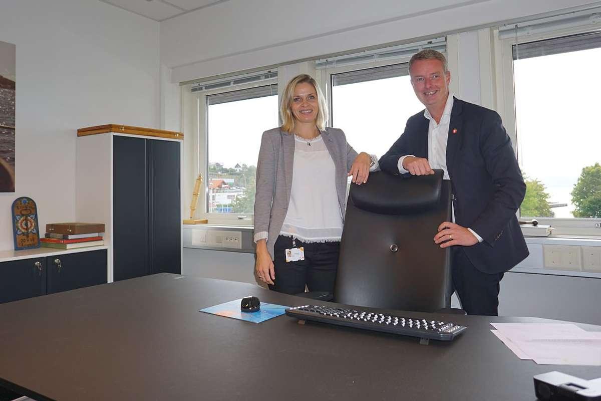 Marie Lunde Bruarøy og Terje Søviknes skifta litt på å sitja i ordførarstolen dei siste åra før valet i 2019. (Foto: Kjetil Vasby Brurøy)
