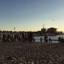 Santa Monica Beach, der Hanne og venane feira nyttår. (Privat foto)