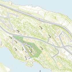 Tre utbyggarar skal til saman bygga over 250 hus i feltet. (Skisse/kart BLU)