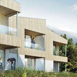 Hausten neste år kan dei første husa stå ferdige. (Skisse: M3 arkitekter)