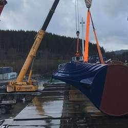 Bølgedemparen er 75 tonn tung. (Foto: Universal Logistics Bergen AS)