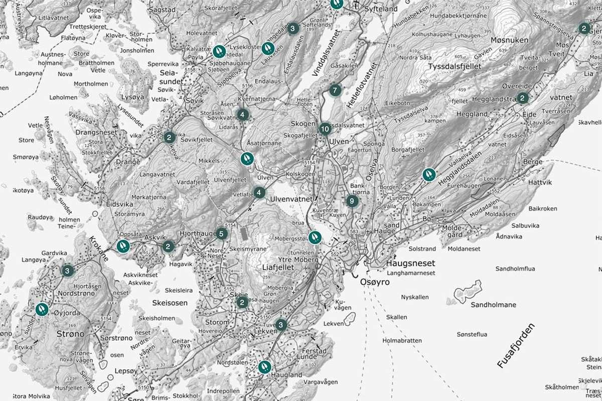 Nær Os sentrum, ved Banktjørn, er eit av dei mest utsette områda dei siste fem åra. (Kart: Hjorteviltregisteret.no)