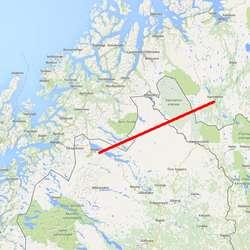 Turen skal via Sverige til neste depot Abisko. (Kart: Google Maps)