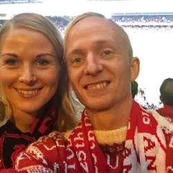 Espen og Maria på Anfield.