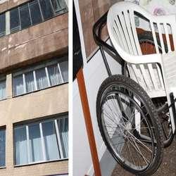 – Dei treng meir utstyr, sa Aleksandra, og viste bilde av heimelaga rullestol.  (Privat foto)
