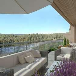 Markhus prioriterer store terrassar. Utsikt mot Gåsakilen og solnedgangen. (Ill.: Markhus Bolig)