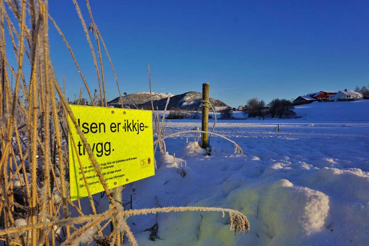 Ulvenvatnet 15. januar. Det er i dag ikkje farbar is på dei vatna kommunen måler. (Foto: Kjetil Vasby Bruarøy)