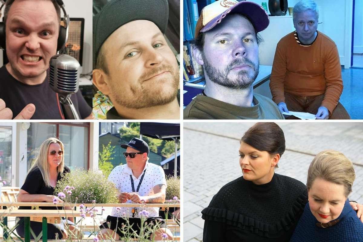 Har du høyrd desse lokale podcastane? Kjenner du til fleire? (Foto: Privat/Midtsiden/Os og Fusaposten)