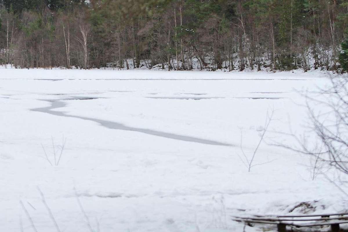 Banktjørn i dag. Isen har vore tjukk i over to veker, men er neppe farbar så mykje lengre. (Foto: Ørjan Håland)