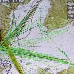 Skipstrafikken i Bjørnafjorden i juli 2008. (Kystverket)