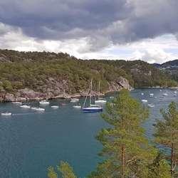 Frå konvoien i Lysefjorden. Foto: Turid Iden