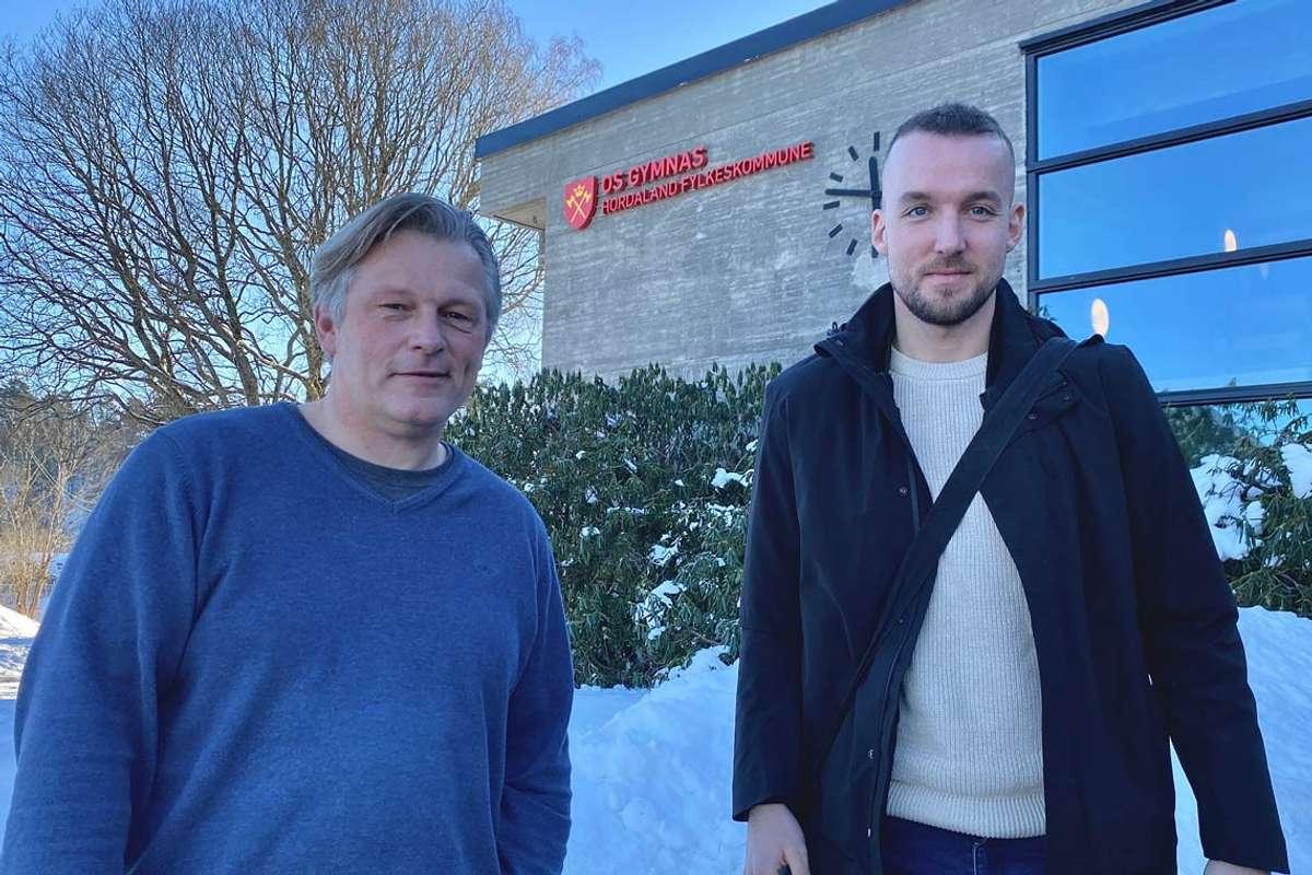 Rune Rosland og Endre Brenne håpar på god respons på det nye toppidrettstilbodet. (Foto: Ørjan Håland)