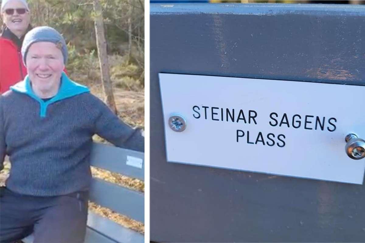 Steinar Sagens plass er no skilta. (Foto: Harald Nøss)