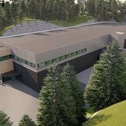 Fabrikken blir 12,5 meter høg, men blir plassert i eit dalsøkk. (Ill. HTB)