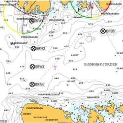 Her skal bøyane plasserast. (Kart: Statens vegvesen)