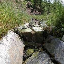 Ein stein med borehol er brukt som fin renne for ein av bekkane. (Foto: KVB)