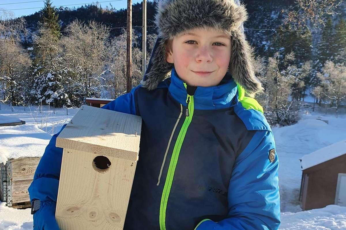 Å snekra fuglekasse var ein av dei mest populære aktivitetane på Kom deg ut-dagen. (Foto: Tor Slettebakken/Øvreeide Gard)